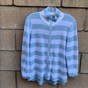 bundle- Knit striped zip sweater & matching tank